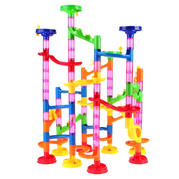 Building Construction Toys 105pcs/set Marble Run Toys Tunnel Blocks Kids Marble Race Run Maze Ball Track DIY Assembly Blocks for Children