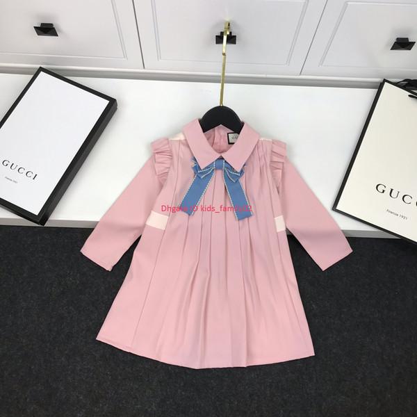 Outono meninas vestido crianças roupas de grife lapelas de tecido de poliéster vestidos slim fit arco decorado manga longa vestido moda vestidos bonitos