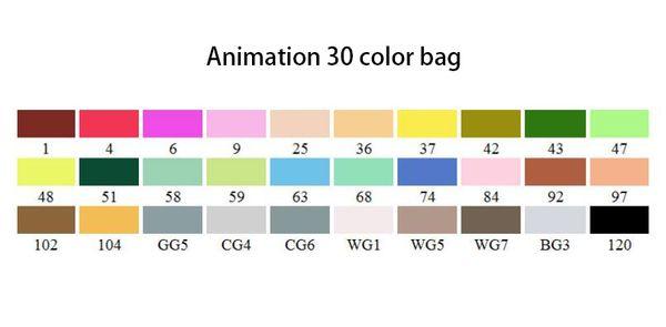 애니메이션 30 색 가방