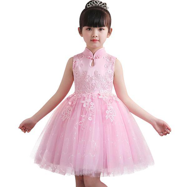 Vêtements pour enfants d'été bébé fille fleur fille robe dentelle fleur mariée demoiselle d'honneur princesse robe bébé fille vêtements J190612
