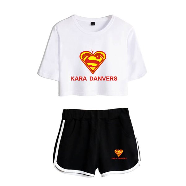 Kara Danvers print casual T-shirt trend sexy hip hop women's T-shirt + shorts two-color mix and match two-piece women's suit