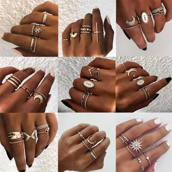 New Bohemian Vintage Gold Crescent Geometric Joint Ring Set for Women Crystal Personality Design Ring Set Party Jewelry Gift T097