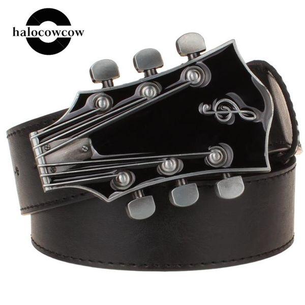 Cintos Guitarra Metal Belt Buckle Música Guitarra retro Instrumento Musical Hip Homens de Moda Belts Hop Strap cintura Cintura Novel