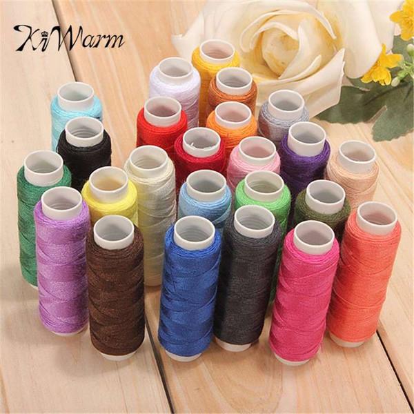 KiWarm 24Pcs Bobine colorate Fine Quality Cotton Sewing Machine Thread Reel Cord String Multi colore per strumenti di cucito per la casa
