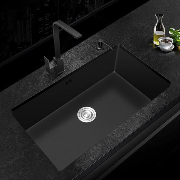 top popular black Kitchen Sink 304 Stainless Steel Single sink kitchen vegetable washing basin black sink above counter or udermount 2021