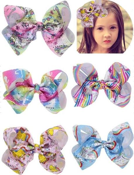 New Laser Sequins Oversized Bow Hair Clips Children's printed color rotating sequin clip Ribbed ribbon handmade girl headdress 10pcs/