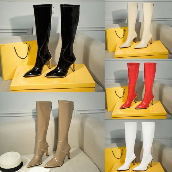 Inverno stivali al ginocchio nuova stivali in neoprene lucide modo della chiusura lampo Donne Boot oltre gli stivali al ginocchio Sexy Lady stivale tacco alto