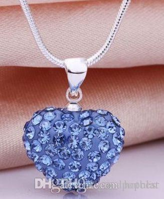 good fashion hotsale mircro pave disco Mix Colors beads clay heart silver plated crystall Crystal necklace pendant women e23
