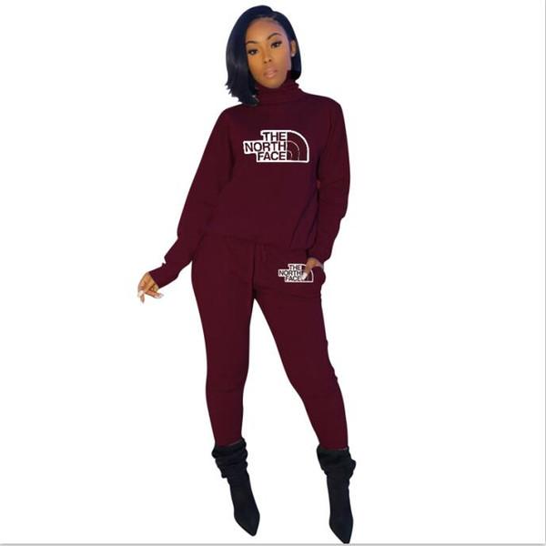 Kadınlar Eşofman gündelik jogging yapan takım spor markası 2 parçalı set uzun kollu ceket sıska pantolon moda sonbahar kış giyim ince kıyafetler yazdırmak
