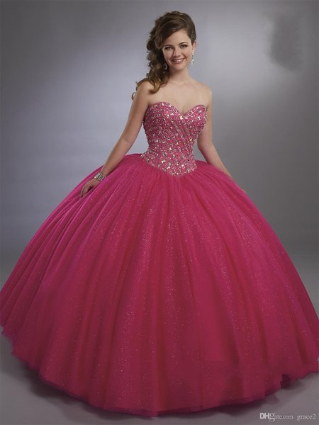 Magenta Ball Gown Quinceanera Dresses with Sheer Bolero Major Beading Sparkly Shimmering vestidos de 15 anos Aqua Color