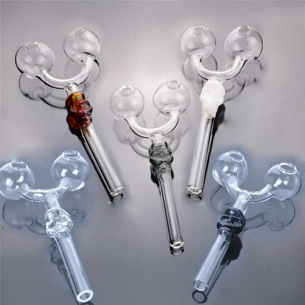 top popular Double oil Burner glass pipe study pyrex ART Smoking Tube skull pipes recycler oil rigs IN STOCK random color free shipping 2020