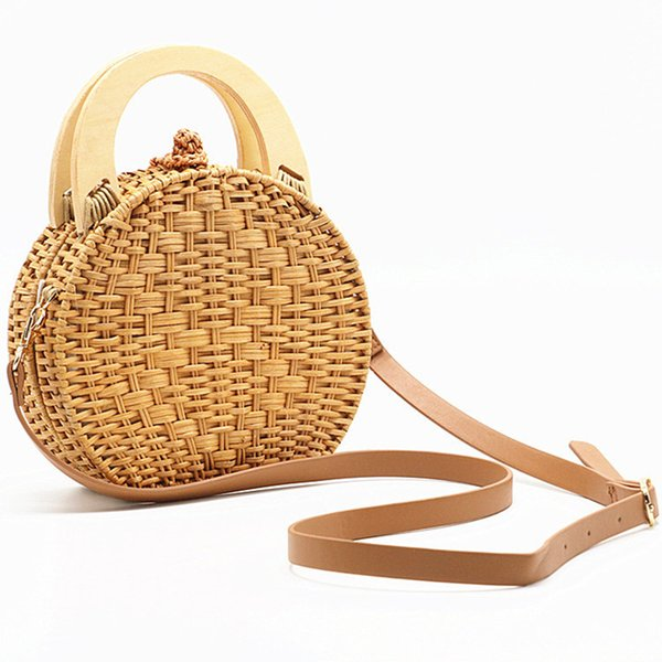 Fashion Women's Handbags Wooden Handle Rattan Woven Bag Straw Bag Stitching Clutch Bali Beach Holiday Shoulder Female