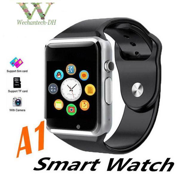 Smartwatch A1 Bluetooth Risposta Chiama Cinturino sportivo di lusso Pedometro sportivo Push Messaggi Chiamate con fotocamera SIM per smartphone Android Uso domestico