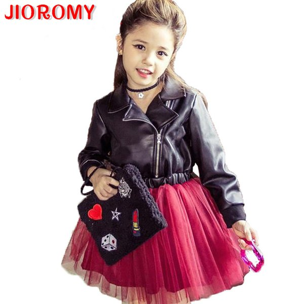 Jioromy 2019 New Girl Princess Leather Dress Party Dress Tutu Veil Red Sequined Dress Diamond Kids Clothes Birthday Wedding J190615
