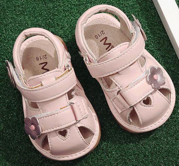 meninas squeaky shoes flores squeakers 1-3 anos crianças handmade meias sandálias verão nina sapatos divertido bebê branco rosa coração