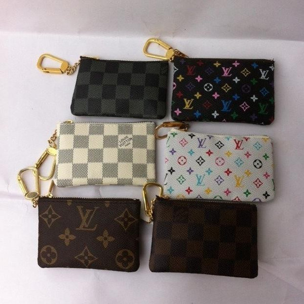 Commercio all'ingrosso di alta qualità nuovi 6 colori portachiavi portafoglio zip portamonete in pelle monete donne portamonete di lusso portamonete piccole portamonete