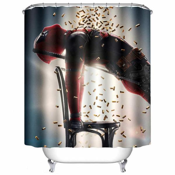 Deadpool Kellner Duschvorhang Wasserdichte Mehltau 3D Druck Persönlichkeit Duschvorhang und 12 Haken, 60X72 zoll