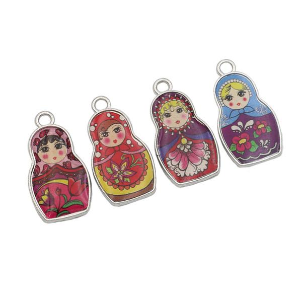 pendant findings 4pcs Stainless Steel Retro Style Enamel Russian Toys Charms Pendants for Making Bracelet Diy Jewelry Findings