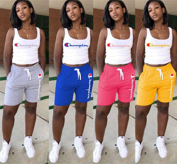 Mulheres Campeões Carta Sem Mangas T Shirt Vest Top Shorts Calças Treino de Verão Roupas 2 Peça Conjunto Sportswear Esportes Ternos Roupas A4801