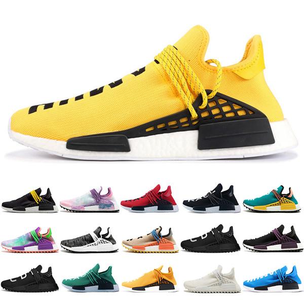 Acheter Adidas Human Race 2019 Race Humaine Chaussures De Course Jaune Encre Nobel Gris Blanc Pharrell Williams Formateur Mens Sneaker Chaussure De