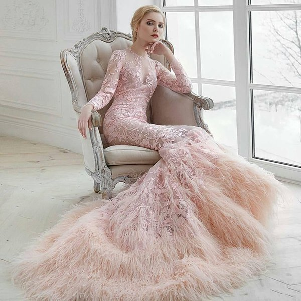 Luxury Pink Muslim Wedding Dresses Feather Long Sleeves Lace Applique Trumpet Bridal Gowns Sweep Train 2020 Wedding Dress