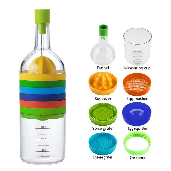 8-in-1 Bottle Shape Multifunction Kitchen Helper Tools Grater Juicer Grinder Funnel Measuring Cup Set Kitchenware Gadgets