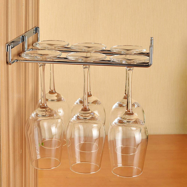 Preferred Hanging Metal Wine Cup Rack Silver/Gold Bar Single/Double Rack Wine Stemware Glass Bottle Goblet Inverted Holder
