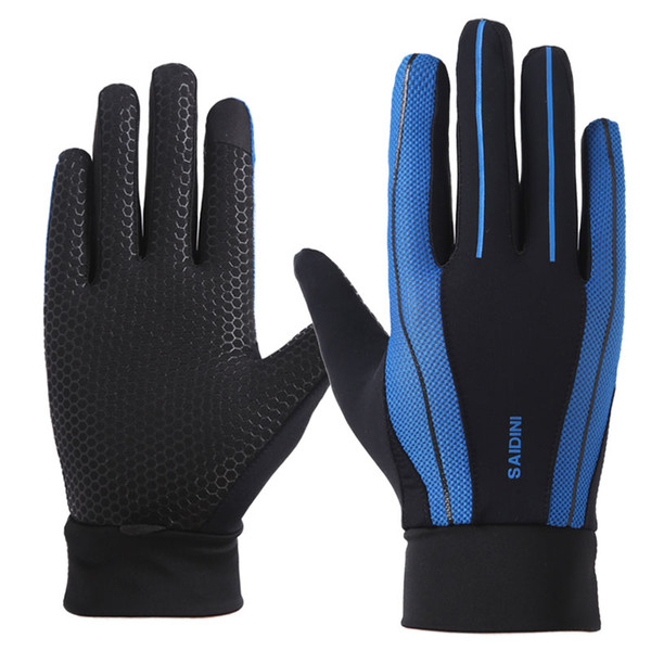 Outdoor sports riding full finger gloves men and women summer sunscreen thin section breathable driving bike silicone anti-slip touch screen