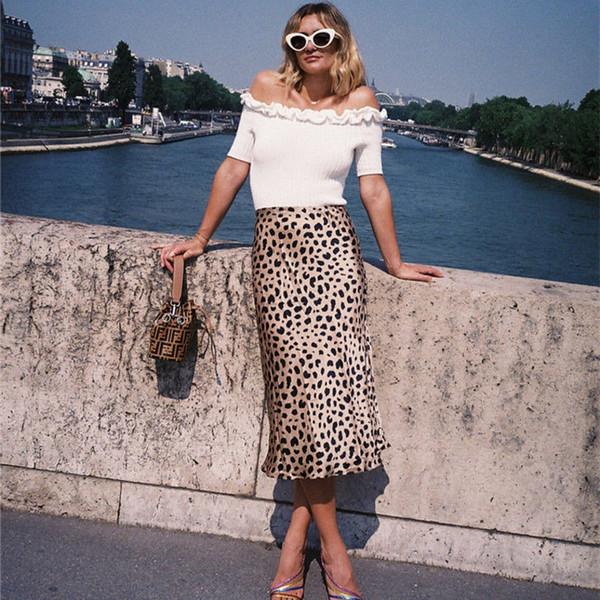 Дизайнер Длинные юбки Leopard Женщины печати Sexy Асимметричный высокой талией шифон юбки Party Club Dailywear Юбки Плюс Размер