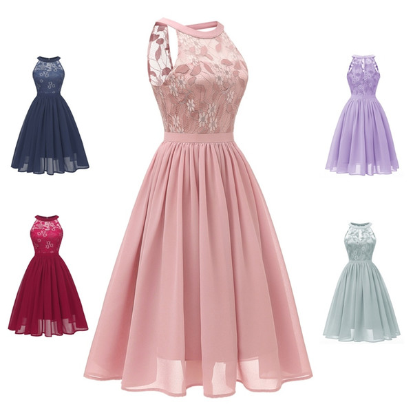 Women's Sleeveless Slim Halter Lace Dresses Bridesmaid Party Cocktail Formal Dress Ladies Summer Sexy Casual Lace Dress