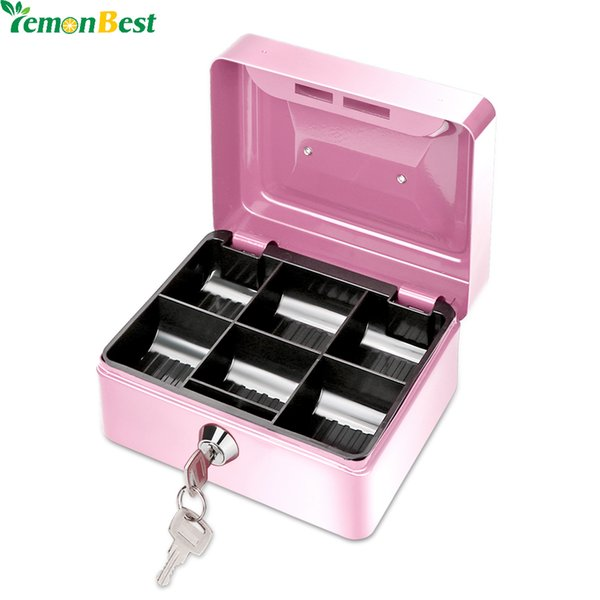 money 1Pcs Portable Money 6 Compartments Coin Cash Mini Safe for Home School Office With Tray Lockable Security Box