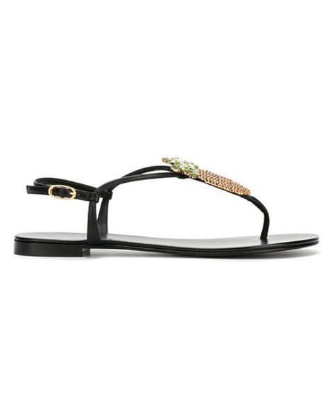 Mulheres Preto Embelezado Abacaxi Sandálias Abacaxi Jóia Plana sandália Ankle-strap fixação Toe-post design tamanho euro 35-42