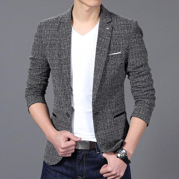 Luxury Men  Suit jacket Blazer Spring Fashion One Button Cotton Slim Fit Men Suit Terno Masculino Blazers