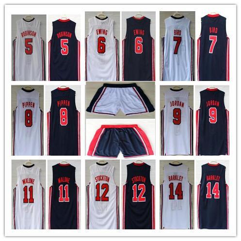 1992 Dream Team Jersey stockton johnson barkely Robinson Ewing Bird Pippen Drexler Malone Michael Sport Maglie da basket Pantaloncini induriti