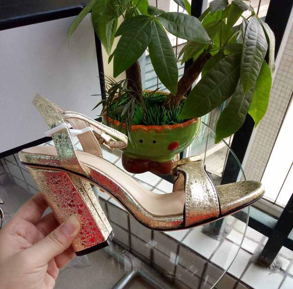 Yeni 2019 Lüks Tasarım Deri Bayan Saplama Sandalet Slingback Bayanlar Pompalar Seksi Yüksek Topuklu 9.5 cm Moda Perçinler Ayakkabı 5 renkler