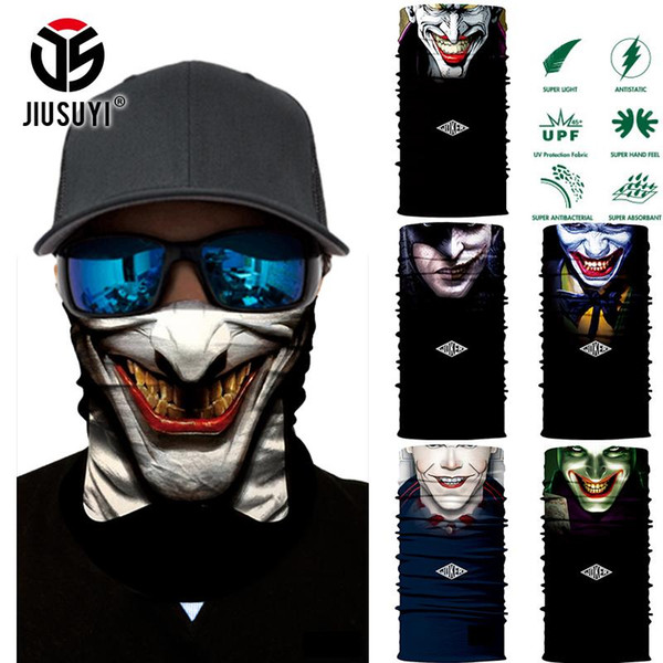 Gros- Magic Tube multifonction sans couture 3D Clown Joker Hommes Crâne fantôme Bouclier Masque bandeau Bandana Couvre-chef Anneau tête écharpe