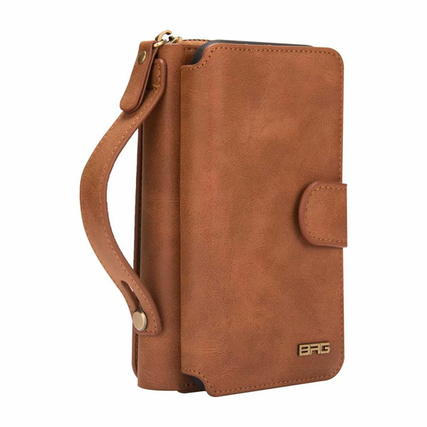 BRG Detachable Retro pu Leather Zipper Wallet Bag Purse Cases for iPhone XS Max XR XS X 7 8 6 6S Plus 5 5s SE Business Purse Handbag