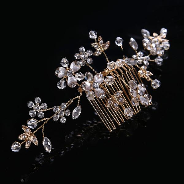 Wedding Bridal Bridesmaid Combs Tiaras Silver Handmade Rhinestone Pearl Headbands Luxury Hair Accessories Headpiece Tiara Jewelries Z17