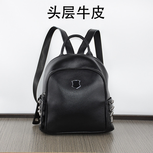 Charm2019 Pattern Korean Genuine Both Shoulders Package Rivet Cool Time Woman Bag Black Pure Cowhide Soft Leather Small Backpack