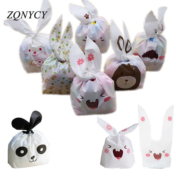 25pcs Bunny Cookies Bags Candy Biscuit Packaging Bag Birthday Wedding Favors Candy Gift Bags Easter Party Decoration Supplies D19011702