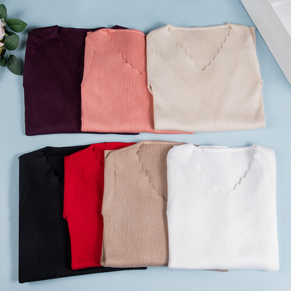 2019 herbst sexy v-ausschnitt frühling herbst frauen gestrickte pullover elastische pullover frauen casual jumper schlanke pullover weibliche fs8221