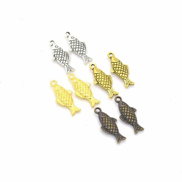 100pcs / pack de pescado encantos de la joyería de DIY que hace Pendientes Collares Pulseras Fit colgante hecho a mano Crafts encanto de plata de bronce