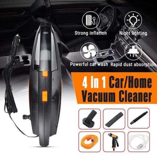 4 EN 1 12V 120W Aspiradora portátil portátil de doble uso Lavado con iluminación de aspiradora de coche inflable de neumático de alambre