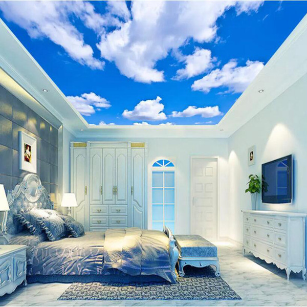 Blue Sky White Clouds Ceiling Wallpapers Creative Modern Designs 3D  Wallpaper Home Living Room Bedroom Decoration Wallpaper A Desk Wallpaper  And ...