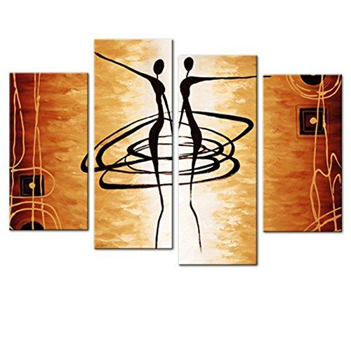 Unframed 4 Pieces Abstract Dancer Canvas Wall Art Picture Prints on Canvas Painting Artworks for Living Room Home Decoration Gifts