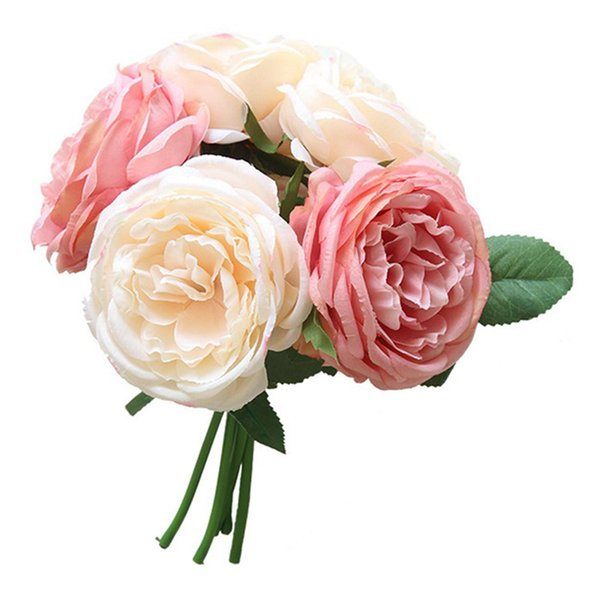 -5 head silk rose multilayer artificial flower wedding hand flower bouquet home office garden decoration(pink)