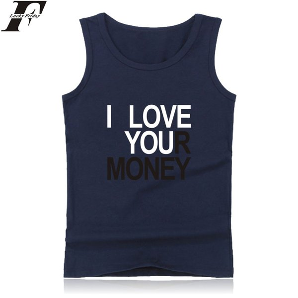 Design creativo I Love Money Vest Uomo Estate Canotta in cotone senza maniche da uomo Fitness oversize casual elastico