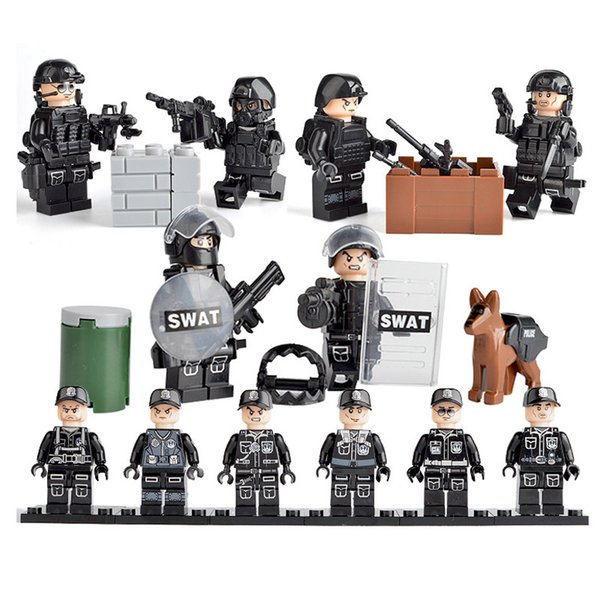 New Arrival 6pcs Lot Military Special Forces Tactics Assault Policeman COD SWAT Figure with Weapons Building Block Bricks Toy for Children