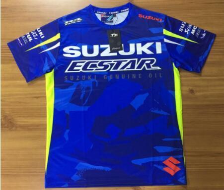 Yeni Motosiklet Yarışı Motosiklet motokros Moto Takım Moda Günlük Jersey İçin Suzuki mavi gp tişört Binme Off-Road Giyim tee
