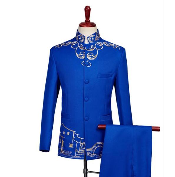 Blazer Männer Bräutigam Anzug Set mit Hosen Stickerei chinesischen Tunika Anzug Herren Sänger Sterne Stil Tanz Bühne Kleidung formelle Kleidung